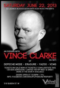 VINCE CLARKE (ERASURE) - Velvet Underground, Toronto (2013)